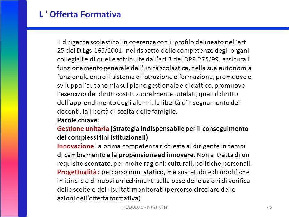 MODULO 5 - Ivana Uras46 Il dirigente scolastico, in coerenza con il profilo delineato nell'art 25 del D.Lgs 165/2001 nel rispetto delle competenze deg