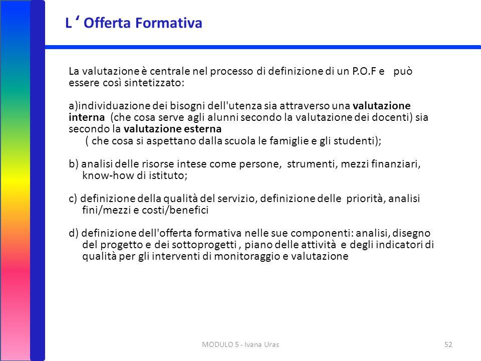 MODULO 5 - Ivana Uras52 La valutazione è centrale nel processo di definizione di un P.O.F e può essere così sintetizzato: a)individuazione dei bisogni