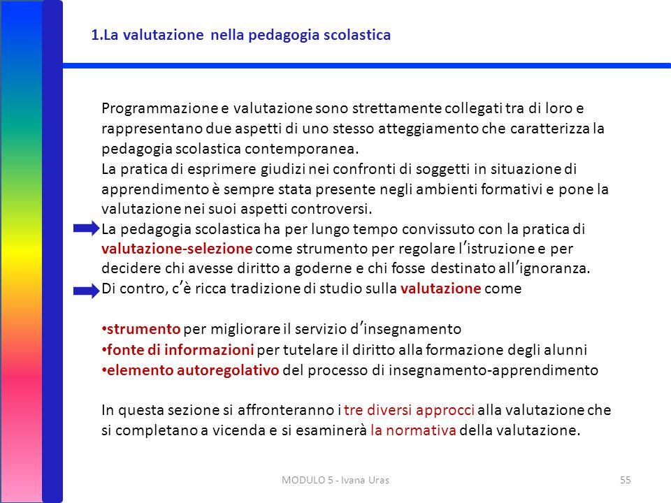 MODULO 5 - Ivana Uras55 Programmazione e valutazione sono strettamente collegati tra di loro e rappresentano due aspetti di uno stesso atteggiamento c