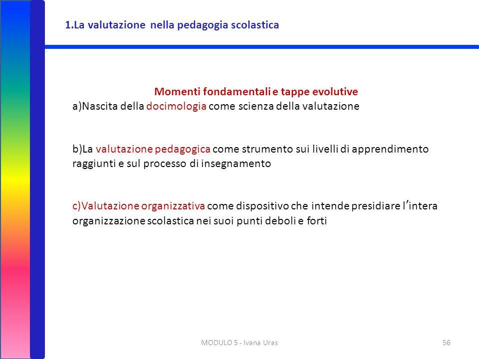 MODULO 5 - Ivana Uras56 Momenti fondamentali e tappe evolutive a)Nascita della docimologia come scienza della valutazione b)La valutazione pedagogica