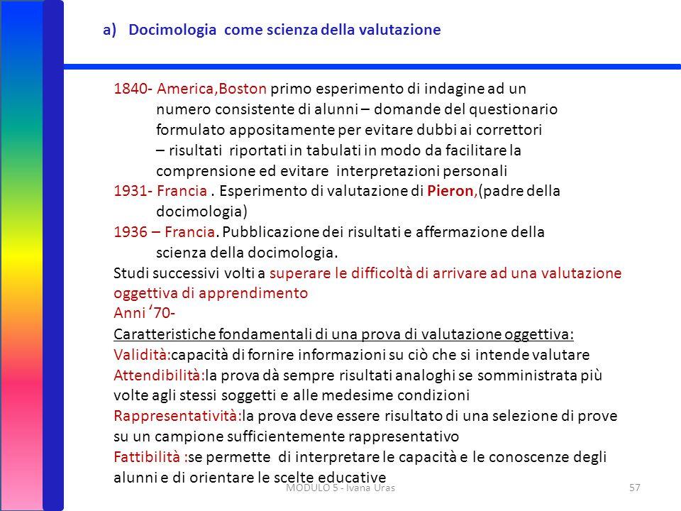 MODULO 5 - Ivana Uras57 a)Docimologia come scienza della valutazione 1840- America,Boston primo esperimento di indagine ad un numero consistente di al