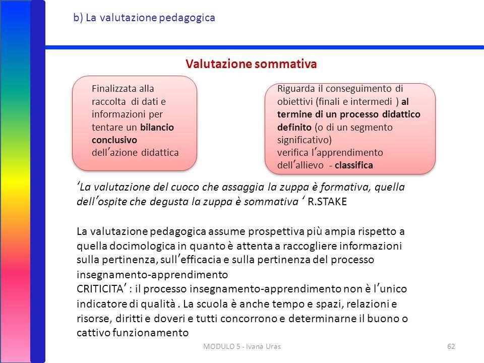 MODULO 5 - Ivana Uras62 b) La valutazione pedagogica Valutazione sommativa Finalizzata alla raccolta di dati e informazioni per tentare un bilancio co