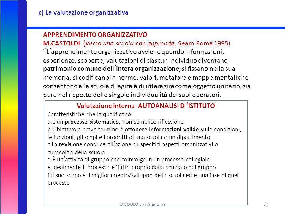 """MODULO 5 - Ivana Uras64 c) La valutazione organizzativa APPRENDIMENTO ORGANIZZATIVO M.CASTOLDI (Verso una scuola che apprende, Seam Roma 1995) """"L'appr"""