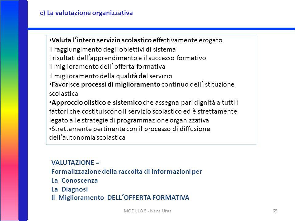 MODULO 5 - Ivana Uras65 c) La valutazione organizzativa Valuta l'intero servizio scolastico effettivamente erogato il raggiungimento degli obiettivi d