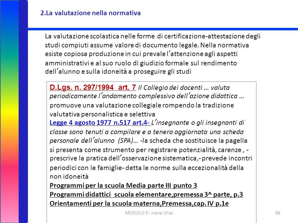 MODULO 5 - Ivana Uras66 2.La valutazione nella normativa La valutazione scolastica nelle forme di certificazione-attestazione degli studi compiuti ass