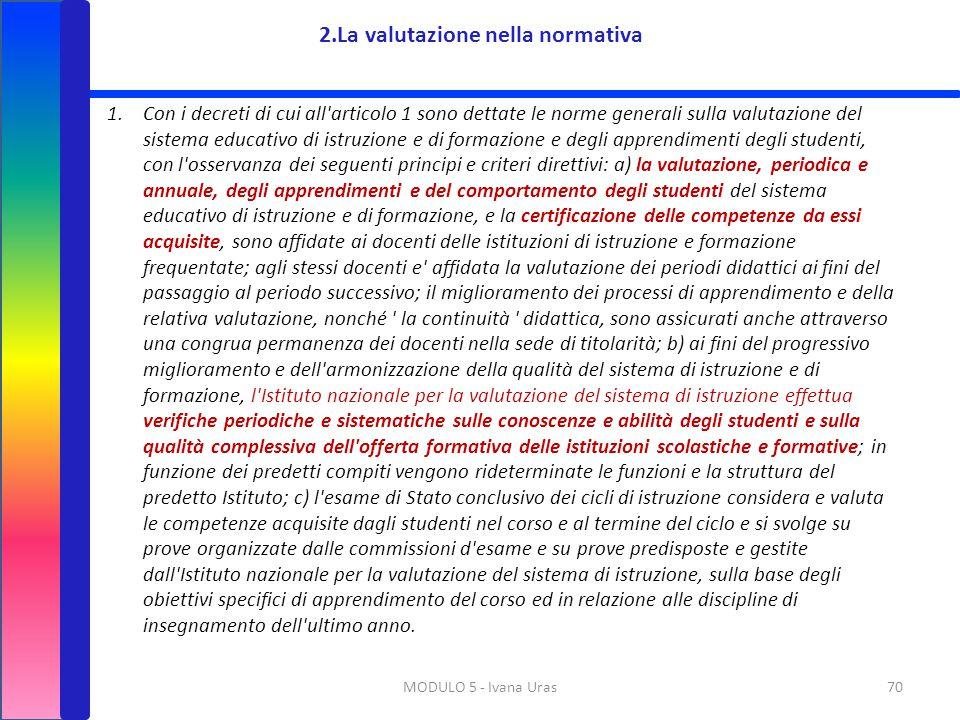 MODULO 5 - Ivana Uras70 1.Con i decreti di cui all'articolo 1 sono dettate le norme generali sulla valutazione del sistema educativo di istruzione e d