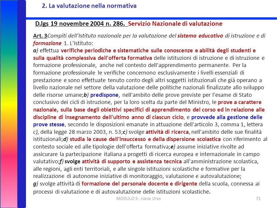 71MODULO 5 - Ivana Uras D.lgs 19 novembre 2004 n. 286. Servizio Nazionale di valutazione Art. 3Compiti dell'Istituto nazionale per la valutazione del