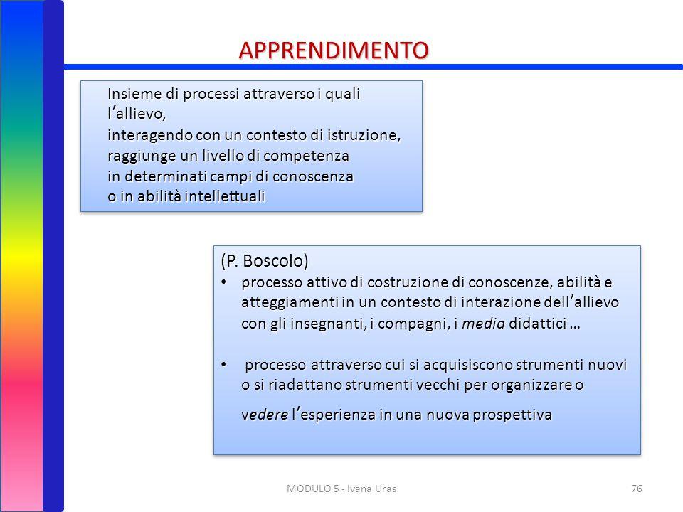 76MODULO 5 - Ivana Uras Insieme di processi attraverso i quali l'allievo, interagendo con un contesto di istruzione, raggiunge un livello di competenz