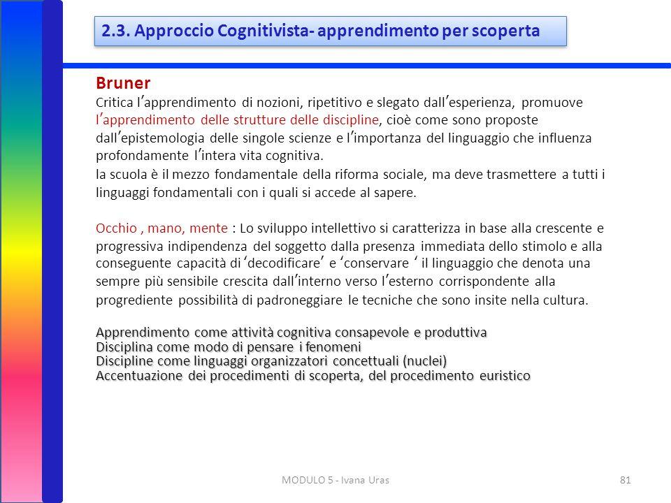 81MODULO 5 - Ivana Uras Bruner Critica l'apprendimento di nozioni, ripetitivo e slegato dall'esperienza, promuove l'apprendimento delle strutture dell