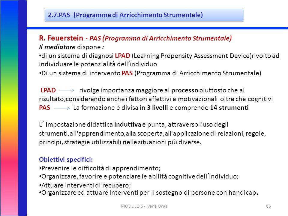 85MODULO 5 - Ivana Uras R. Feuerstein - PAS (Programma di Arricchimento Strumentale) Il mediatore dispone : di un sistema di diagnosi LPAD (Learning P