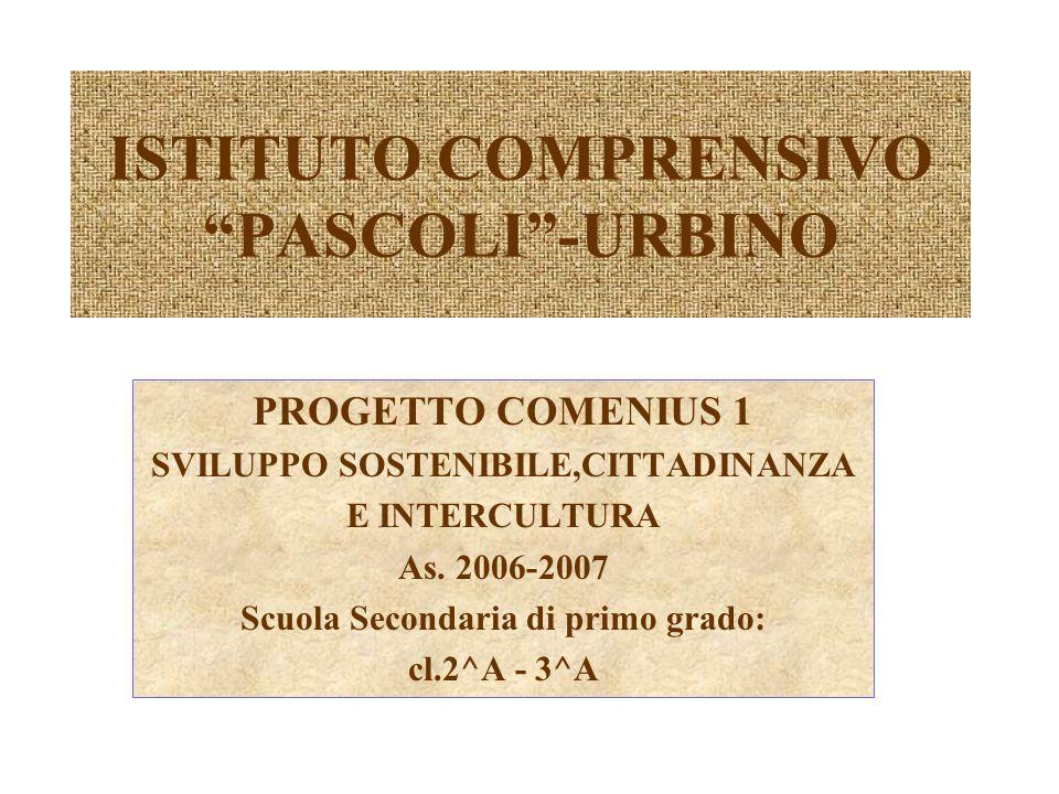 ISTITUTO COMPRENSIVO PASCOLI -URBINO PROGETTO COMENIUS 1 SVILUPPO SOSTENIBILE,CITTADINANZA E INTERCULTURA As.
