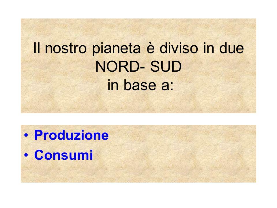 Il nostro pianeta è diviso in due NORD- SUD in base a: Produzione Consumi