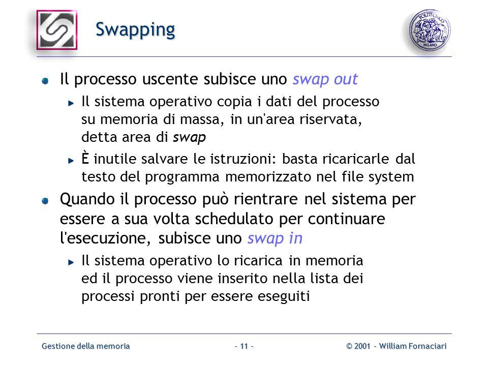 Gestione della memoria© 2001 - William Fornaciari- 11 - Swapping Il processo uscente subisce uno swap out Il sistema operativo copia i dati del processo su memoria di massa, in un area riservata, detta area di swap È inutile salvare le istruzioni: basta ricaricarle dal testo del programma memorizzato nel file system Quando il processo può rientrare nel sistema per essere a sua volta schedulato per continuare l esecuzione, subisce uno swap in Il sistema operativo lo ricarica in memoria ed il processo viene inserito nella lista dei processi pronti per essere eseguiti