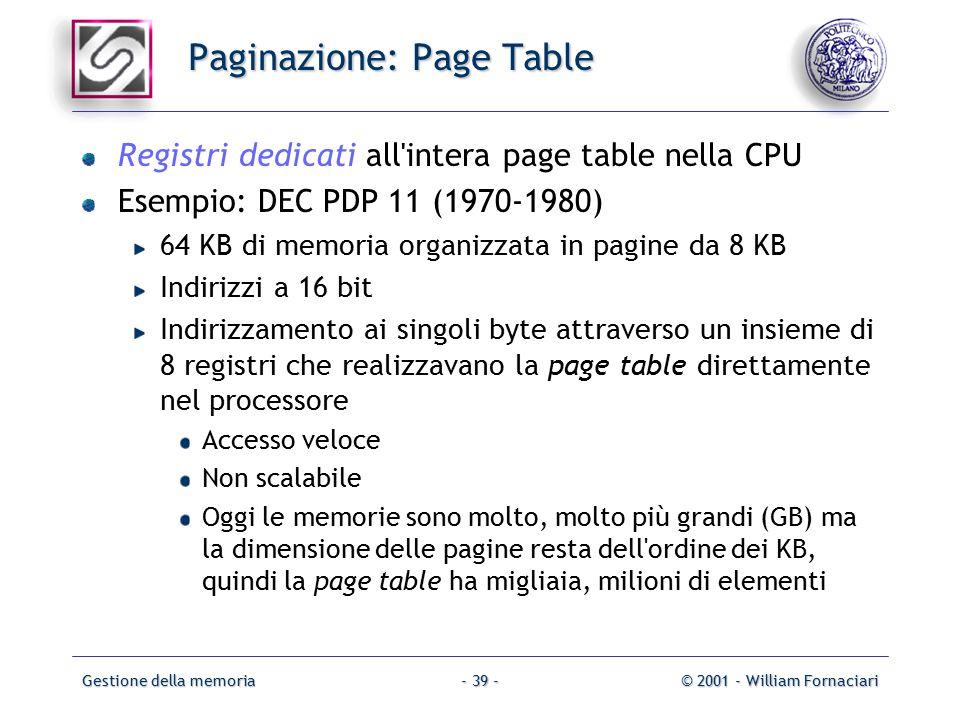 Gestione della memoria© 2001 - William Fornaciari- 39 - Paginazione: Page Table Registri dedicati all intera page table nella CPU Esempio: DEC PDP 11 (1970-1980) 64 KB di memoria organizzata in pagine da 8 KB Indirizzi a 16 bit Indirizzamento ai singoli byte attraverso un insieme di 8 registri che realizzavano la page table direttamente nel processore Accesso veloce Non scalabile Oggi le memorie sono molto, molto più grandi (GB) ma la dimensione delle pagine resta dell ordine dei KB, quindi la page table ha migliaia, milioni di elementi