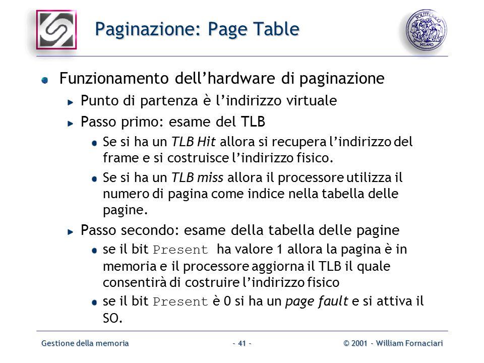Gestione della memoria© 2001 - William Fornaciari- 41 - Paginazione: Page Table Funzionamento dell'hardware di paginazione Punto di partenza è l'indirizzo virtuale Passo primo: esame del TLB Se si ha un TLB Hit allora si recupera l'indirizzo del frame e si costruisce l'indirizzo fisico.