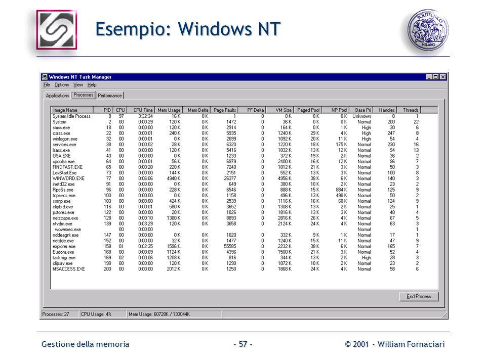 Gestione della memoria© 2001 - William Fornaciari- 57 - Esempio: Windows NT