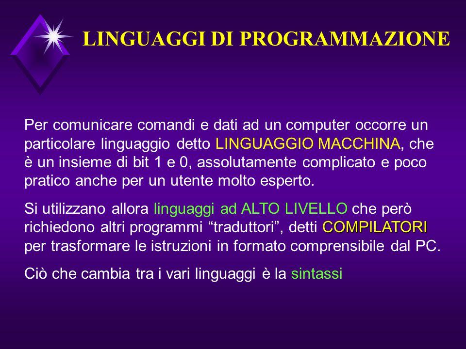LINGUAGGI DI PROGRAMMAZIONE Per comunicare comandi e dati ad un computer occorre un particolare linguaggio detto LINGUAGGIO MACCHINA, che è un insieme di bit 1 e 0, assolutamente complicato e poco pratico anche per un utente molto esperto.