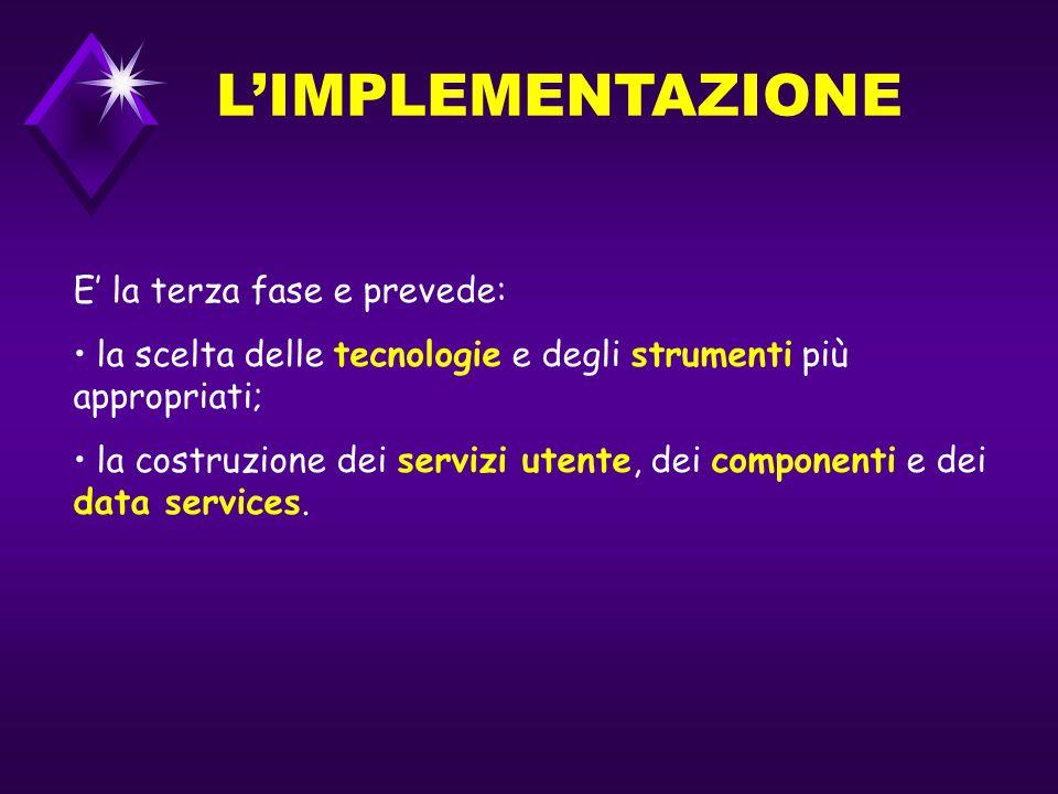 L'IMPLEMENTAZIONE E' la terza fase e prevede: la scelta delle tecnologie e degli strumenti più appropriati; la costruzione dei servizi utente, dei componenti e dei data services.