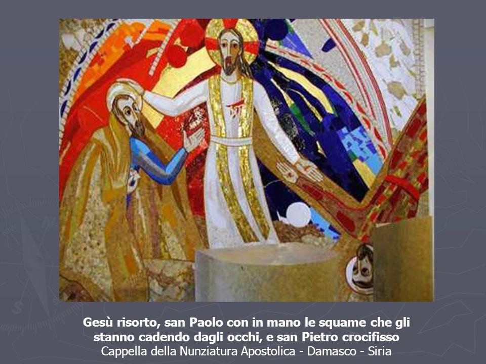 Gesù risorto, san Paolo con in mano le squame che gli stanno cadendo dagli occhi, e san Pietro crocifisso Cappella della Nunziatura Apostolica - Damas