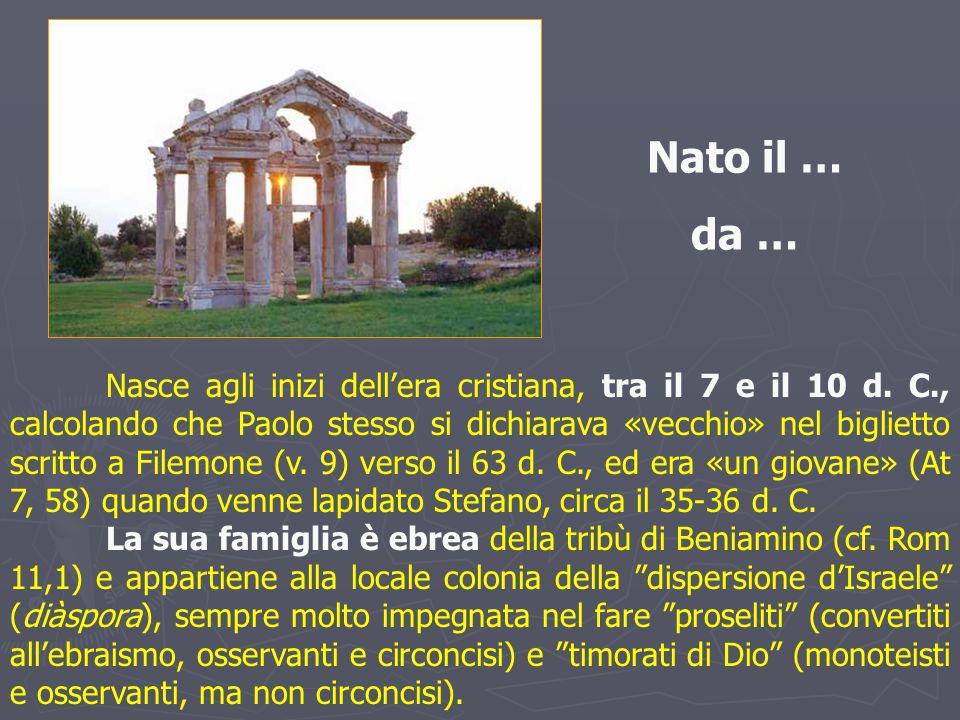 Nasce agli inizi dell'era cristiana, tra il 7 e il 10 d. C., calcolando che Paolo stesso si dichiarava «vecchio» nel biglietto scritto a Filemone (v.