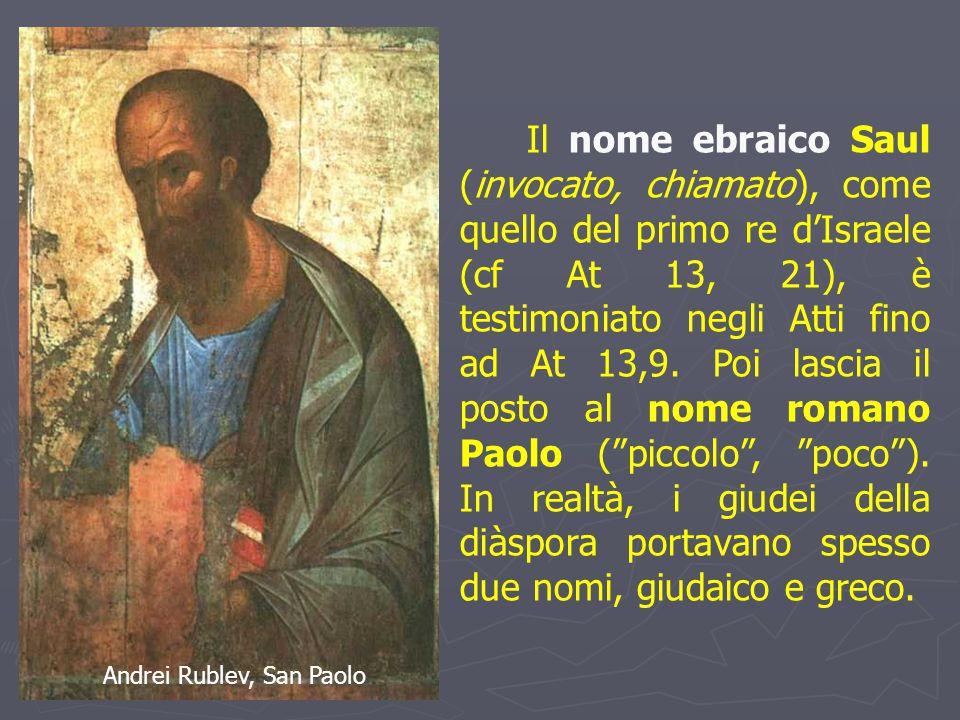 Il nome ebraico Saul (invocato, chiamato), come quello del primo re d'Israele (cf At 13, 21), è testimoniato negli Atti fino ad At 13,9.