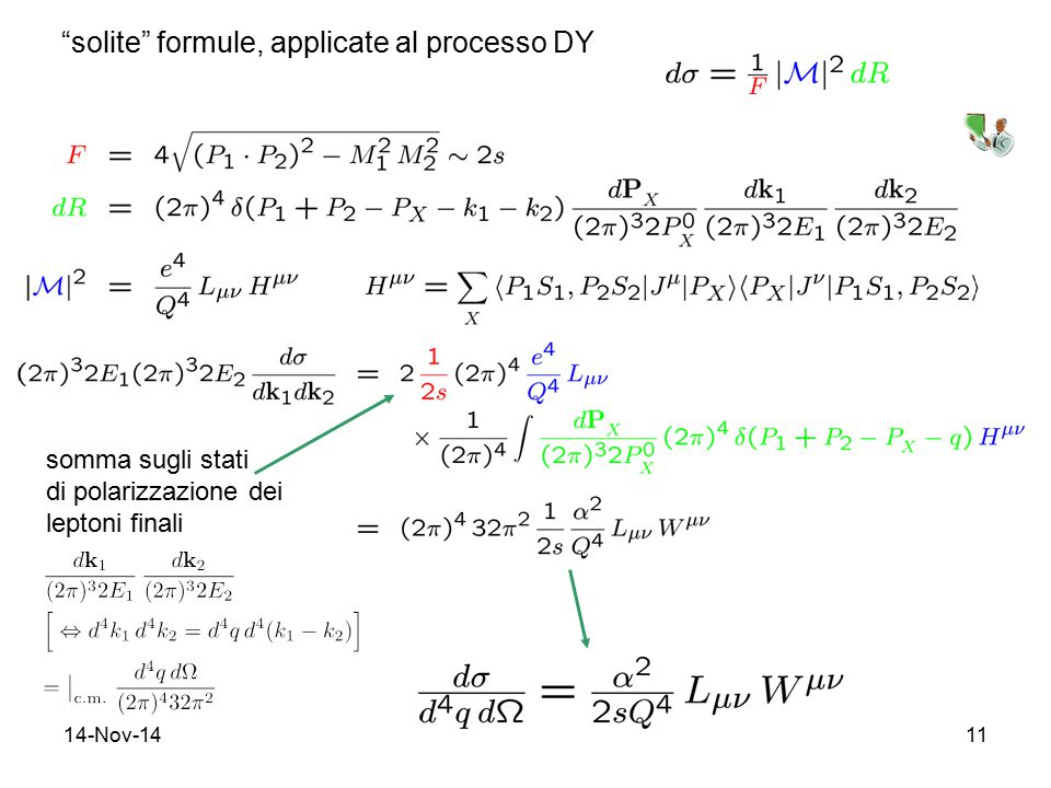 """14-Nov-1411 """"solite"""" formule, applicate al processo DY somma sugli stati di polarizzazione dei leptoni finali"""