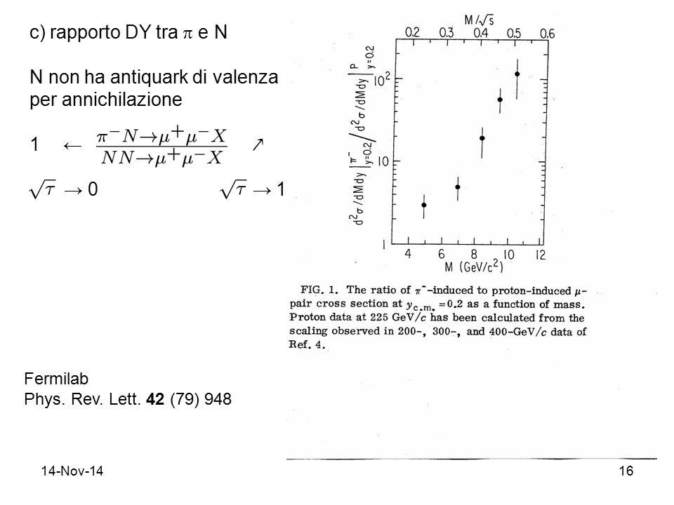14-Nov-1416 c) rapporto DY tra  e N N non ha antiquark di valenza per annichilazione 1← ↗ → → 0 → 1 Fermilab Phys. Rev. Lett. 42 (79) 948