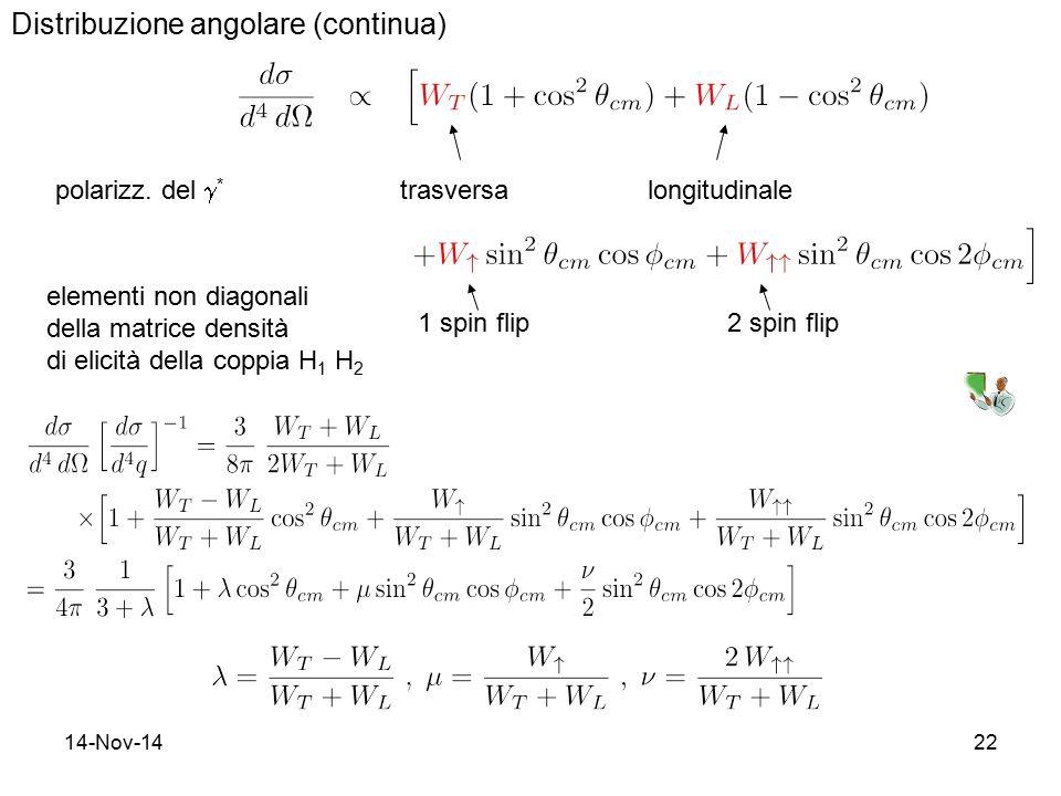14-Nov-1422 Distribuzione angolare (continua) polarizz. del  * trasversalongitudinale 1 spin flip2 spin flip elementi non diagonali della matrice den