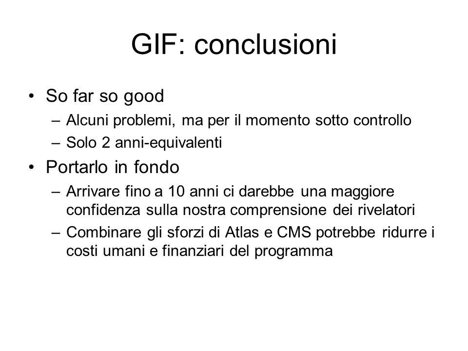 GIF: conclusioni So far so good –Alcuni problemi, ma per il momento sotto controllo –Solo 2 anni-equivalenti Portarlo in fondo –Arrivare fino a 10 ann
