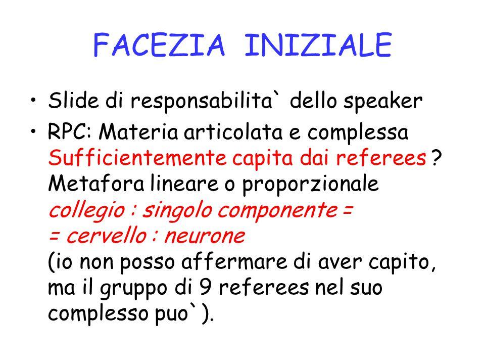 FACEZIA INIZIALE Slide di responsabilita` dello speaker RPC: Materia articolata e complessa Sufficientemente capita dai referees ? Metafora lineare o
