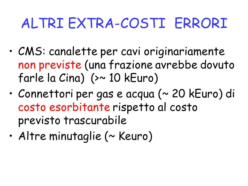 ALTRI EXTRA-COSTI ERRORI CMS: canalette per cavi originariamente non previste (una frazione avrebbe dovuto farle la Cina) (>~ 10 kEuro) Connettori per