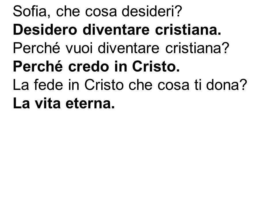 Sofia, che cosa desideri? Desidero diventare cristiana. Perché vuoi diventare cristiana? Perché credo in Cristo. La fede in Cristo che cosa ti dona? L
