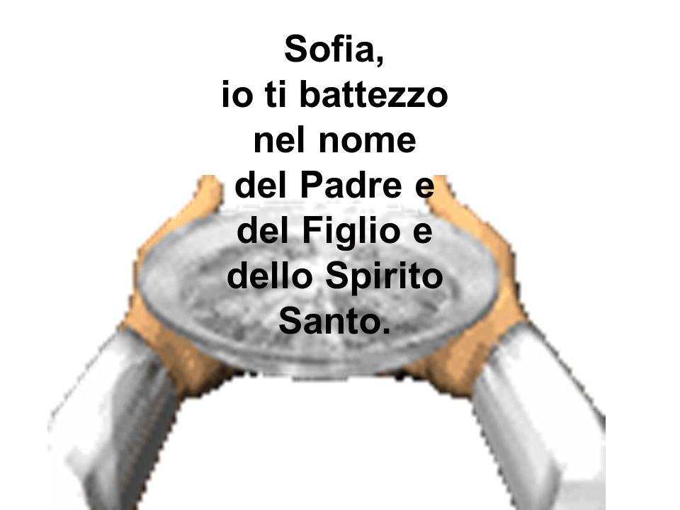Sofia, io ti battezzo nel nome del Padre e del Figlio e dello Spirito Santo.