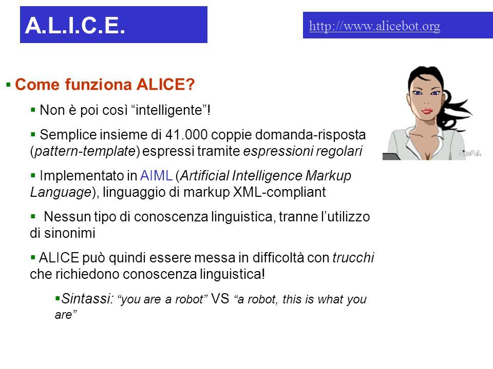 A.L.I.C.E. Intro  Come funziona ALICE.  Non è poi così intelligente .
