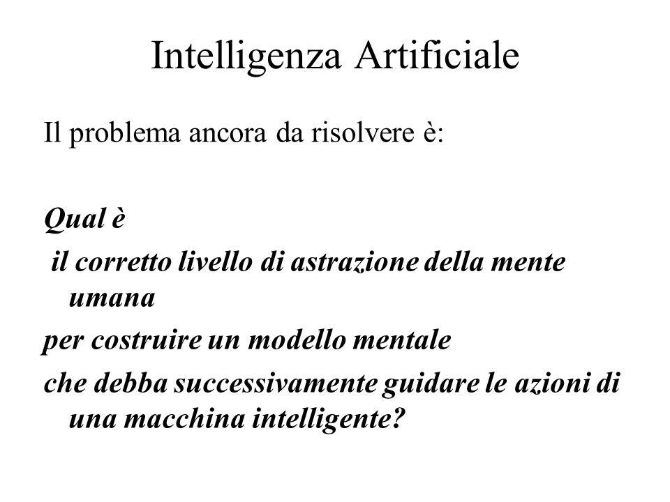 Intelligenza Artificiale Il problema ancora da risolvere è: Qual è il corretto livello di astrazione della mente umana per costruire un modello mentale che debba successivamente guidare le azioni di una macchina intelligente