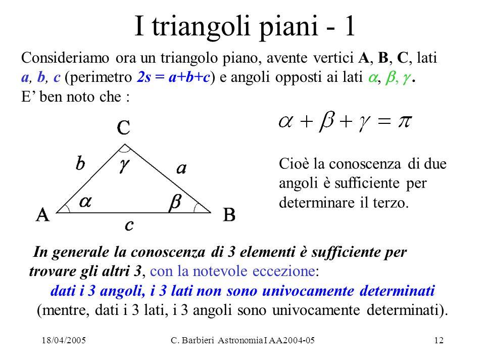 18/04/2005C. Barbieri Astronomia I AA2004-0512 I triangoli piani - 1 Consideriamo ora un triangolo piano, avente vertici A, B, C, lati a, b, c (perime
