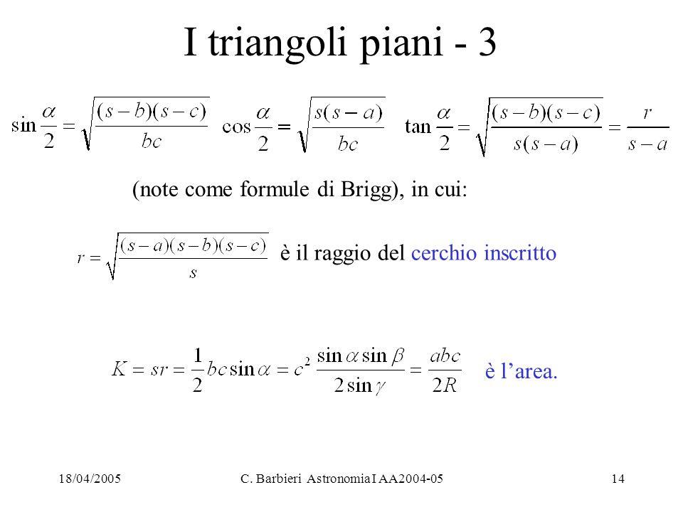18/04/2005C. Barbieri Astronomia I AA2004-0514 I triangoli piani - 3 è l'area. (note come formule di Brigg), in cui: è il raggio del cerchio inscritto