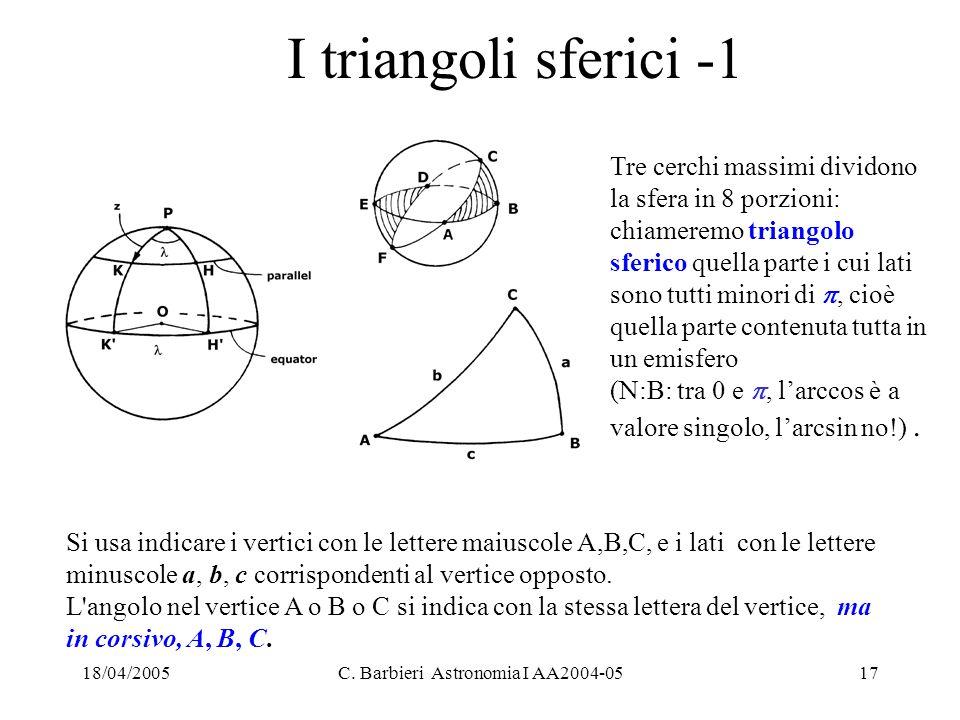 18/04/2005C. Barbieri Astronomia I AA2004-0517 I triangoli sferici -1 Tre cerchi massimi dividono la sfera in 8 porzioni: chiameremo triangolo sferico