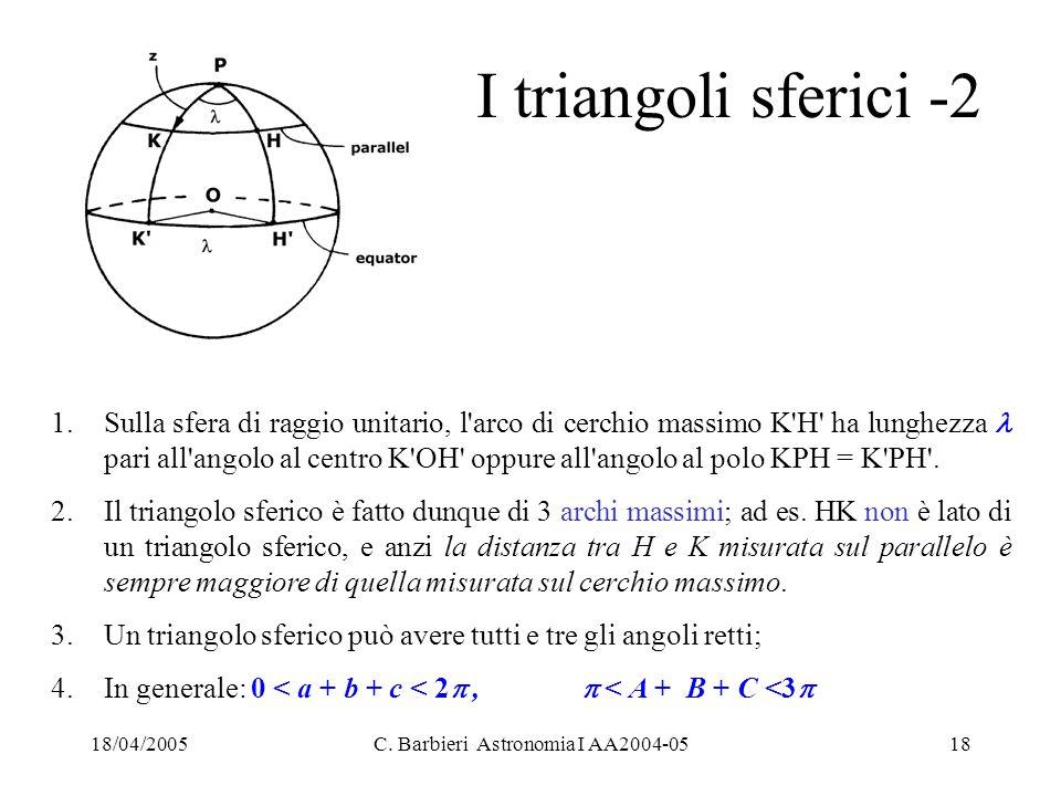 18/04/2005C. Barbieri Astronomia I AA2004-0518 I triangoli sferici -2 1.Sulla sfera di raggio unitario, l'arco di cerchio massimo K'H' ha lunghezza pa