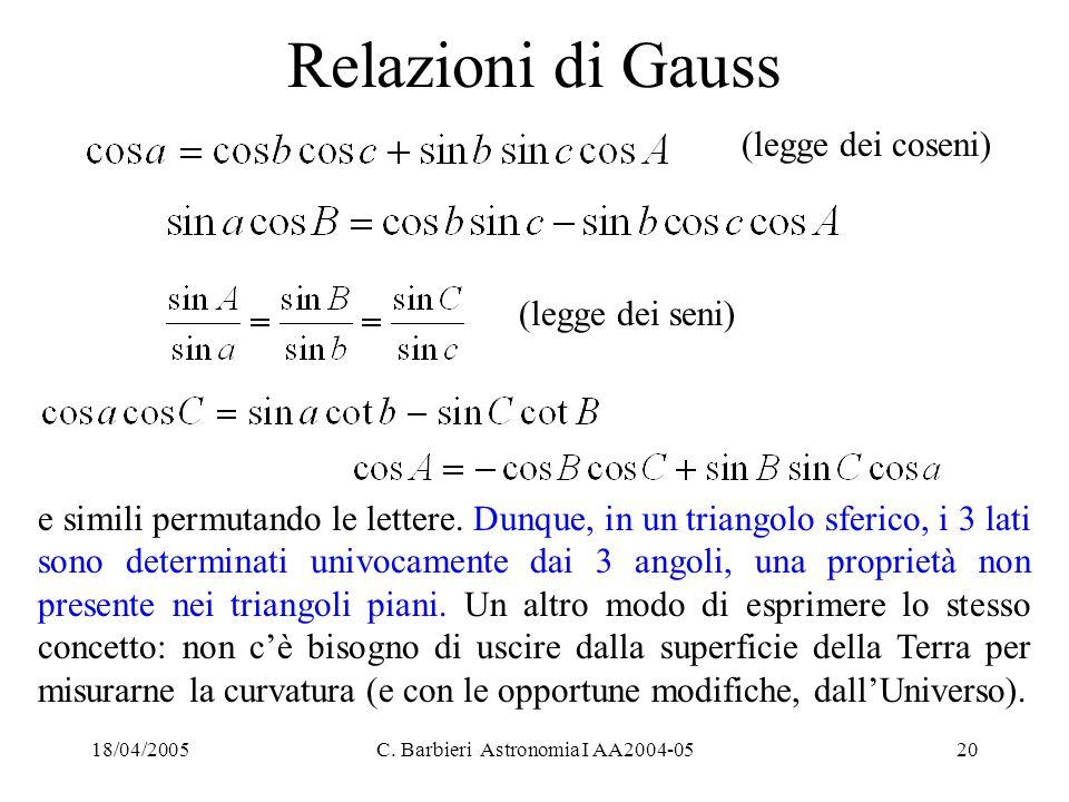 18/04/2005C. Barbieri Astronomia I AA2004-0520 Relazioni di Gauss e simili permutando le lettere. Dunque, in un triangolo sferico, i 3 lati sono deter