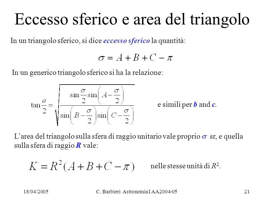 18/04/2005C. Barbieri Astronomia I AA2004-0521 Eccesso sferico e area del triangolo In un triangolo sferico, si dice eccesso sferico la quantità: In u