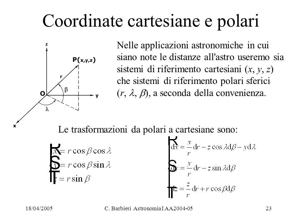 18/04/2005C. Barbieri Astronomia I AA2004-0523 Coordinate cartesiane e polari Nelle applicazioni astronomiche in cui siano note le distanze all'astro