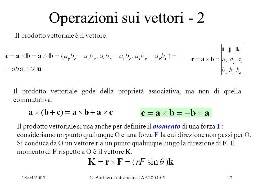 18/04/2005C. Barbieri Astronomia I AA2004-0527 Operazioni sui vettori - 2 Il prodotto vettoriale è il vettore: Il prodotto vettoriale gode della propr