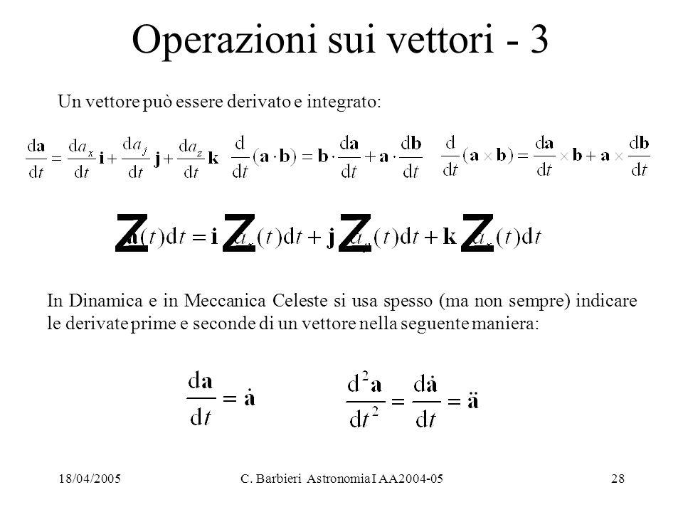 18/04/2005C. Barbieri Astronomia I AA2004-0528 Operazioni sui vettori - 3 In Dinamica e in Meccanica Celeste si usa spesso (ma non sempre) indicare le