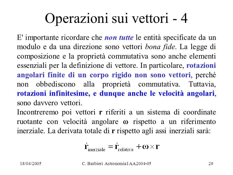 18/04/2005C. Barbieri Astronomia I AA2004-0529 Operazioni sui vettori - 4 E' importante ricordare che non tutte le entità specificate da un modulo e d