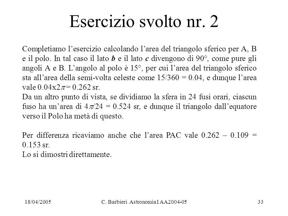 18/04/2005C. Barbieri Astronomia I AA2004-0533 Esercizio svolto nr. 2 Completiamo l'esercizio calcolando l'area del triangolo sferico per A, B e il po