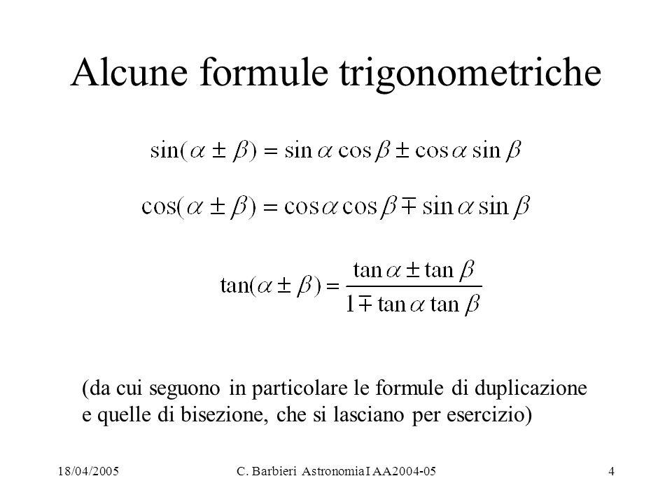 18/04/2005C. Barbieri Astronomia I AA2004-054 Alcune formule trigonometriche (da cui seguono in particolare le formule di duplicazione e quelle di bis