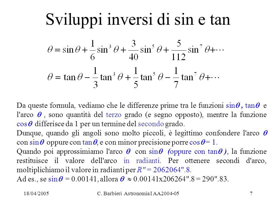 18/04/2005C. Barbieri Astronomia I AA2004-057 Sviluppi inversi di sin e tan Da queste formula, vediamo che le differenze prime tra le funzioni sin ,