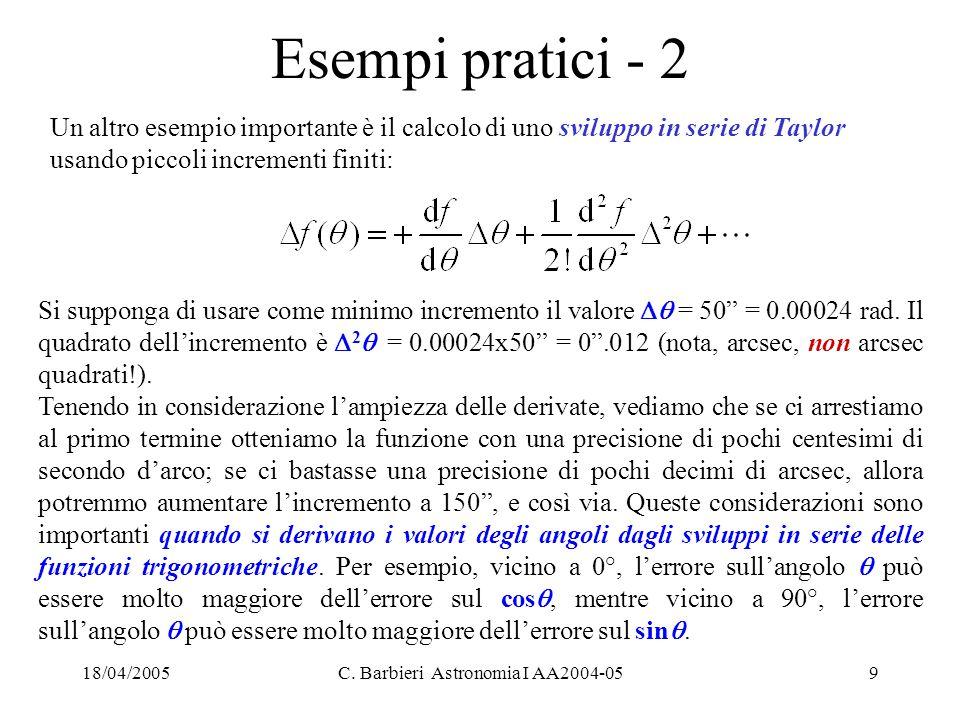 """18/04/2005C. Barbieri Astronomia I AA2004-059 Esempi pratici - 2 Si supponga di usare come minimo incremento il valore  = 50"""" = 0.00024 rad. Il quad"""