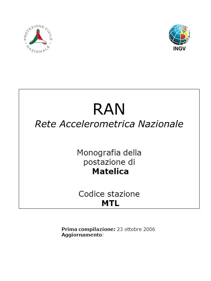 RAN Rete Accelerometrica Nazionale Monografia della postazione di Matelica Codice stazione MTL Prima compilazione: 23 ottobre 2006 Aggiornamento:
